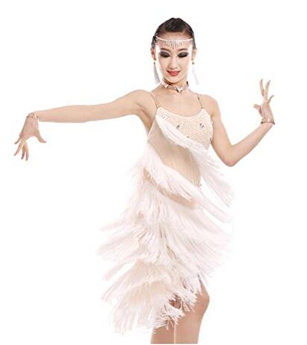 Dance Latine Long 110cm Show Shining Danse White Robe Professionnelle De I7OaUU