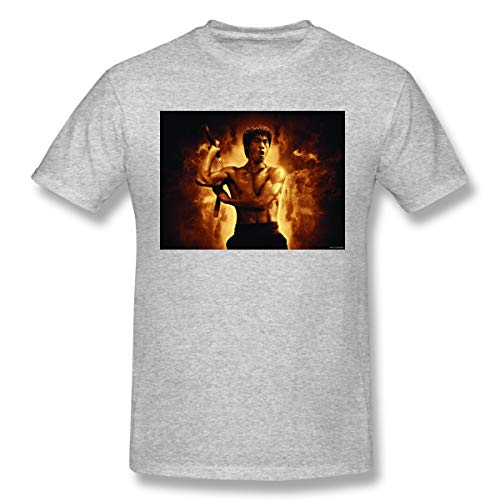 Jiacheng Personalized T-Shirts Casual Chinese Kung Fu Bruce Lee Short Sleeve T-Shirts for Men's Gray