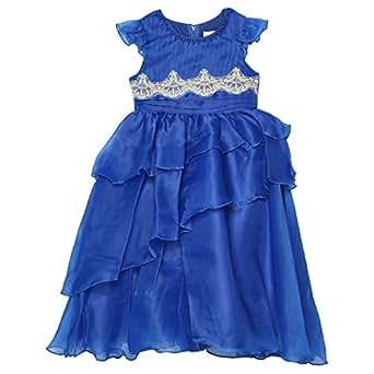 Nimble Layered Dress For Girls, Blue