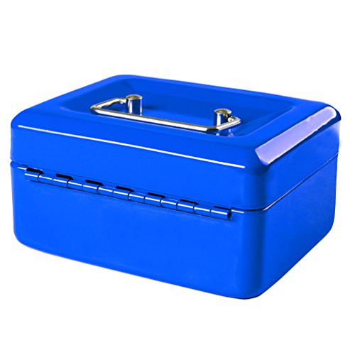 Jssmst Small Locking Cash Box with Money Tray, Lock Money Box for Kids Blue, 5.9 x 4.7 x 3.2 inches, CB013-L by Jssmst (Image #7)