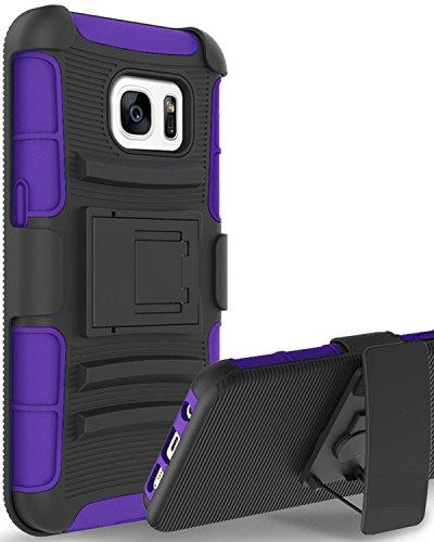 Galaxy S7 Case, S7 Case, BENTOBEN 3 In 1 Hybrid Belt Swivel Clip Holster Kickstand Rugged Bumper Shockproof Anti Slip Scratch Resistant Protective Case for Samsung Galaxy S7 G930, Purple (Samsung M390 Phone Case)
