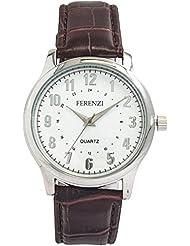 Ferenzi Men's | Crocodile Pattern Brown Band Watch | FZ14001