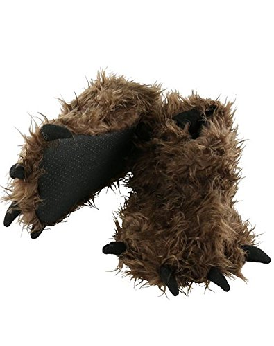 Lazy One Children's Brown Bigfoot Paw Slippers with Claws - Size S