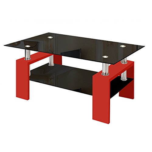 Modern Glass Red Coffee Table with Shelf Contemporary Living