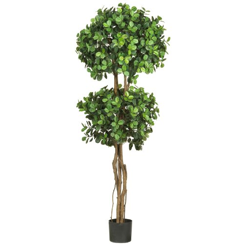 Nearly Natural 5248 Eucalyptus Double Ball Topiary Silk Tree, 5.5-Feet, Green by Nearly Natural