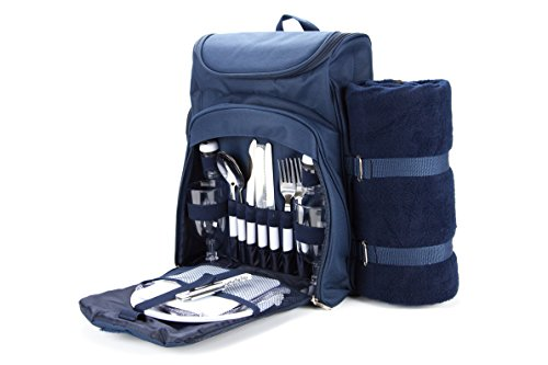 Useful UH-PB173 Picnic Backpack for 2 with Blanket, Plates, and Cutlery Set