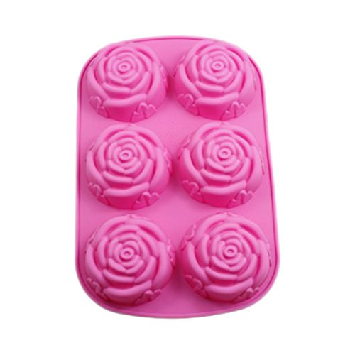 Bohonan Liquid Silicone Mold Muffin Pan Handmade Soap Silicone Molds 6 Roses Shape Cake Mold (H03)