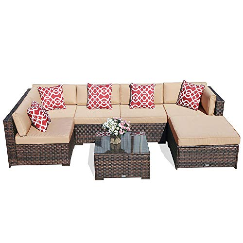 Cheap Super Patio 7 Piece Outdoor Furniture, Brown Wicker Rattan Furniture Patio Sectional Sofa Set, Beige Cushion