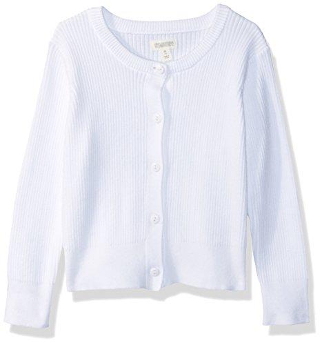 Gymboree Girls' Big Long Sleeve Uniform Ribbed Cardigan, White, M