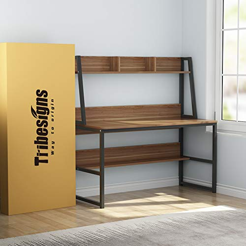 Tribesigns Computer Desk with Hutch and Bookshelf, 47'' Home Office Desk with Space Saving Design for Small Spaces, Retro Brown by Tribesigns (Image #7)