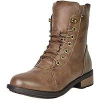 DREAM PAIRS Women's Mid Calf Military Combat Boots