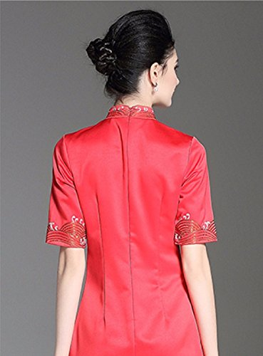 Embroidered cotyledon for Slim Sleeve Fit Neck Dress Formal Red Women Short Cheongsam Collar Short Dresses 7qcr7BUzw