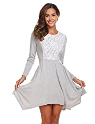 Se Miu Womens Asymmetrical Hem Long Sleeve Fit Casual Swing T Shirt Tunic Dress M A Misty Grey