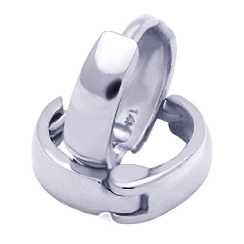 14K White Gold Plain 2 X 6mm Domed Small Huggie Hoop Earrings