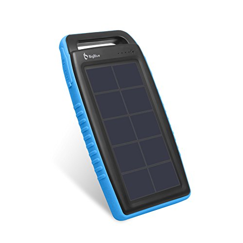 Solar Powered Charger, BigBlue Solar Power Bank 10000mAh IPX4 Waterproof Dual USB Ports Emergency Solar Powered Charger with 6 LED Light Fast Charging for Cellphone Tablet and More Devices (Blue)