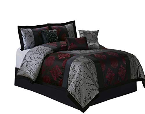 HIG 7 Piece Comforter Set King-Gray and Red Jacquard Patchwork-SHANGRULA Bed in A Bag King Size- Soft Texture,Smooth,Good Drapability-1 Comforter,2 Shams,3 Decorative Pillows,1 Bedskirt