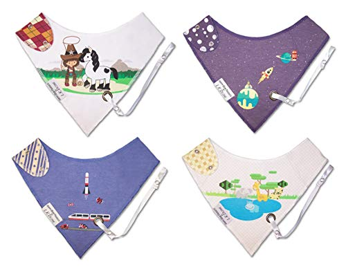 Reversible Bandana Baby Drool Bibs w/Leash for Pacifier/Teether Boys & Girl Sets Infant-Toddler