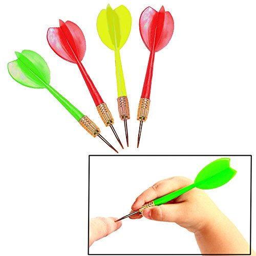 Plastic Darts Brass Tip Assorted Colors - 2 Dozen - Carnival Balloon ()