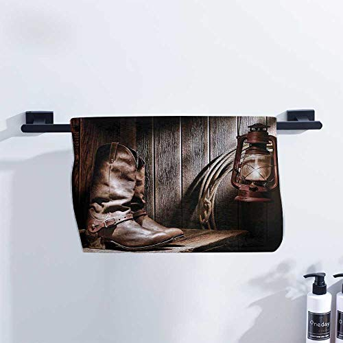 (Western Hand Towel Dallas Cowboys and Lantern on a Bench in Vintage Ranch Nostalgic Folkloric Photograph Quick Drying and Highly Absorbent W10 x L10 Brown)