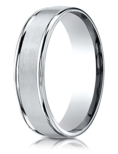 Platinum 6mm Comfort-fit Satin-finished High Polished Round Edge Carved Design Band Size (Platinum Satin Comfort Fit Band)