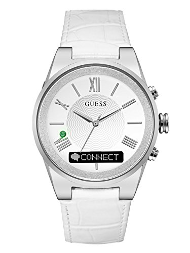 GUESS Women's CONNECT Smartwatch with Amazon Alexa and Genuine Leather Strap Buckle - iOS and Android Compatible -  Silver by GUESS