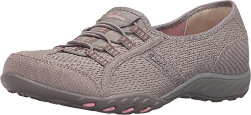 Skechers Women's Relaxed Fit Breathe Easy Save The Date Slip On,Taupe/Peach,US 5