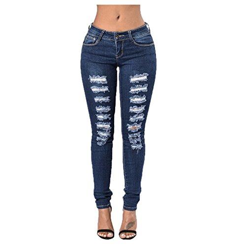 Moshow Jeans tirs tendue Pantalons Femme Jeans en peau de maigre