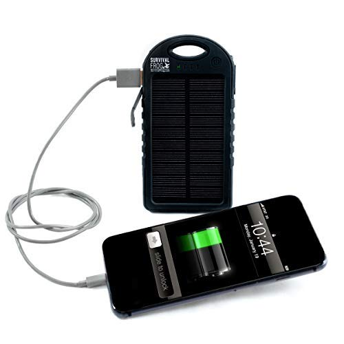 EasyPower 5,000mAh Dual USB Compact Solar Power Bank - 5V Solar Panel Powered Portable Phone Battery Charger for Cell Phones iPhone, Android Compatible, Ultra Bright LED Flashlight, 100% Waterproof