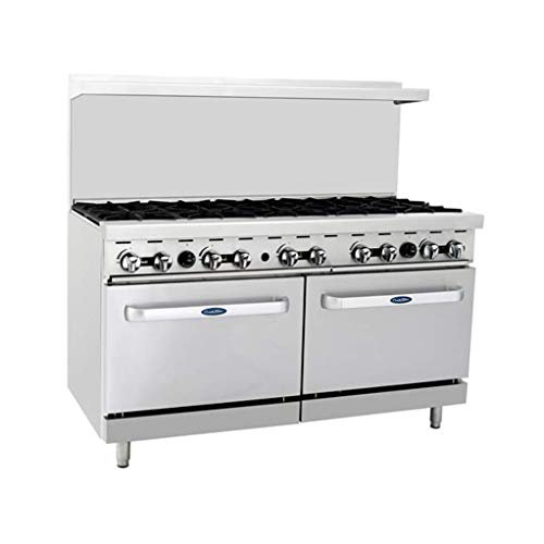 """Atosa ATO-10B 60"""" Gas Range. (10) Open Burners with Two 26"""" 1/2 Wide Ovens"""