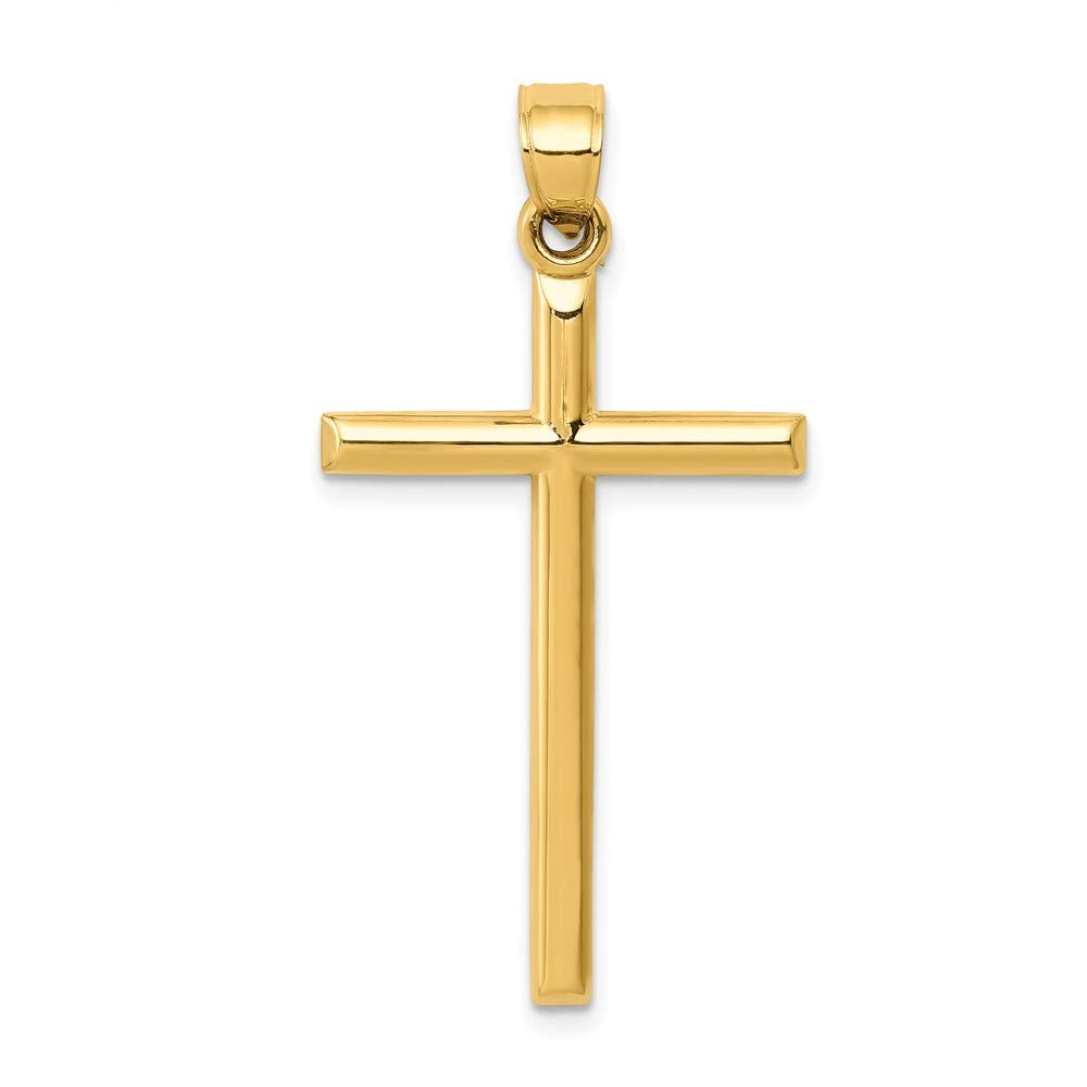 14k Yellow Gold Polished Hollow Cross Pendant