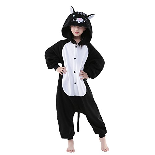 Newcosplay Unisex Children Black Cat Pyjamas Halloween Costume (5-height 47-49