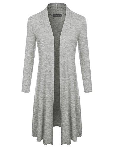 Front Drape Long Sleeve Lightweight Cardigan HeatherGray L (Knee Length Sweater)