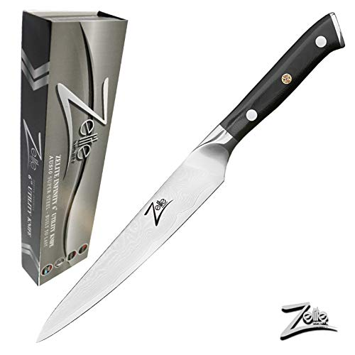 "ZELITE INFINITY Utility Knife 6"" - Alpha-Royal Series - Petty Knives - Best Quality Japanese AUS10 Super Steel 67 Layer High Carbon Stainless Steel - Razor Sharp, Superb Edge Retention Chef Blade"