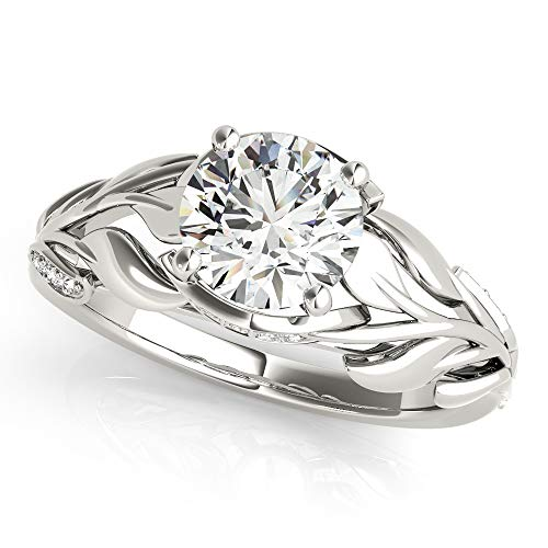 Diamond Palladium Engagement Setting - (0.16ct) Palladium Nature-Inspired Diamond Leaf Engagement Ring Setting