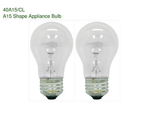 2-Bulbs 40A15CL 40 Watt Clear A15 Appliance Incandescent Medium E26 Base 415 Lumens Light Bulb
