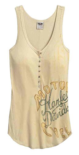Harley-Davidson Women's Ribbed Henley High-Low Sleeveless Tank 96003-17VW (L)