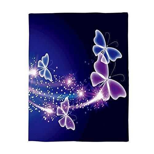 Cloud Dream Home Flannel Blanket,Pink Purple Butterfly Shining Light Under Blue Sky Throw Luxury Blanket Reversible Fuzzy Microfiber All Season Blanket Child Adults 50