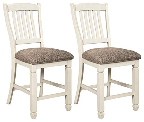 Signature Design by Ashley D647-124 Bolanburg Upholstered Bar Stool (Set of 2), Antique White