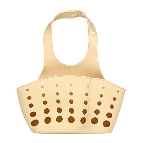 (Fheaven Portable Home Kitchen Hanging Bag Basket Bath Storage Tools Sink Holder for Sponges, Scrubbers, Dish Brushes (Khaki) )