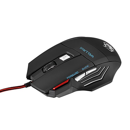 6-Button USB Wired Optical Gaming Mouse 1000 DPI 7 Soothing LED Colors R-183