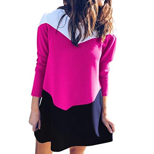 Sunhusing Women Popular Euro-American Style Round Neck Long-Sleeve Three-Color Stitching Flowy Hem Short Dress Hot Pink