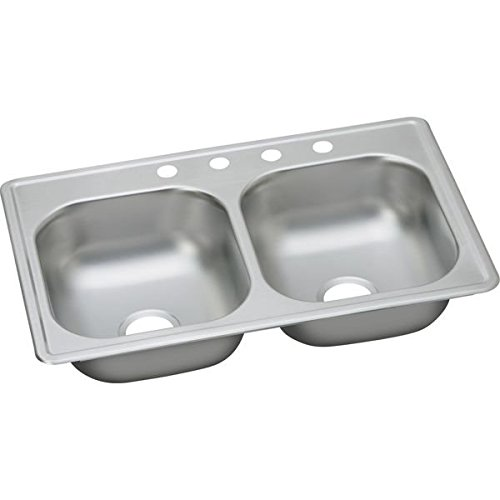 Elkay D233195 22 Gauge Stainless Steel Double Bowl Top Mount Kitchen Sink, 33 x 19 x 6.4375'' by Elkay