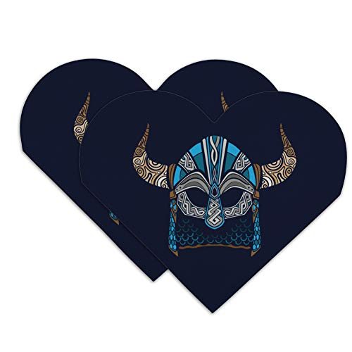 Nordic Viking Warrior Helmet with Horns Heart Faux Leather Bookmark - Set of 2 ()