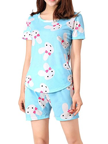 VENTELAN Women Sleepwear Cute Rabbit Pajama Sets Soft Short Sleeve Loungewear ()