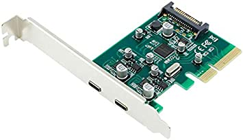 JXSZ PCI-Express x4 to 2 Ports USB3.1 Type-A+Type-C Combo Expansion Adapter Cards Hub Controller