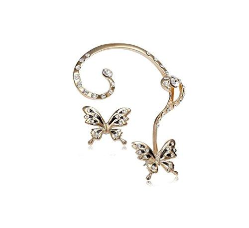 Adorable Woman Diamond Antique Butterfly Earcuff Earrings stud Punk Style Ear Wrap (Antique Nickel Estate Single)
