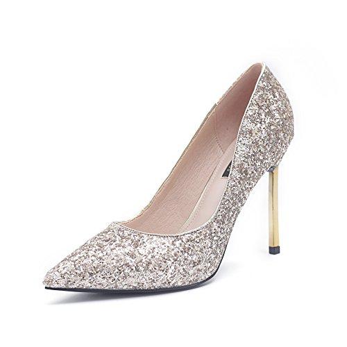 GAOLIM Banquete Glitter Zapatos De Tacón Mujer Fina Con Plata Fuerte Solo Zapatos Zapatos De Boda Zapatos De Novia Zapatos Rojos Rojo 9 centímetros de oro