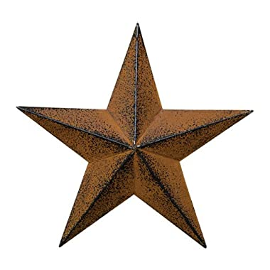 Small Dimensional Primitive Rustic Steel Metal Barn Star Hanger, 8-inch, Rust/Black