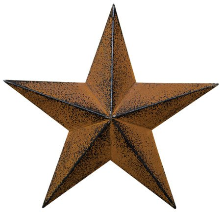 Small Dimensional Primitive Rustic Steel Metal Barn Star Hanger, 8-inch, Rust/Black - Rustic Star