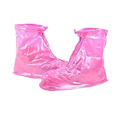 PVC Covers Protective Slip Women Rainy Zippered pink Rain Overshoe Travel Girls Flatties Guard Covers Shoe Waterproof resistant Outdoor Shoe Zw8wBqT5